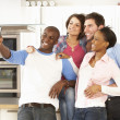 Group Of Young Friends Taking Photo In Modern Kitchen — Stock Photo