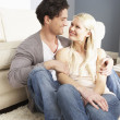 Romantic Young Couple Relaxing Together At Home — Stock Photo