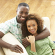 Romantic Young Couple Relaxing Sitting On Sofa — Stock Photo