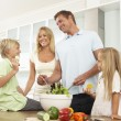 Family Preparing Salad In — Stock Photo #4838733