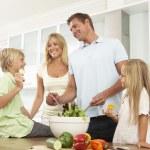 Family Preparing Salad In — Stock Photo