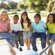 Group Of Children Riding On - Stock Photo