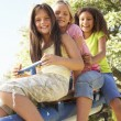 Girls Riding On See Saw - Stock Photo