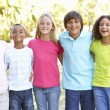 Five young friends standing - Foto Stock