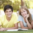 Teenage student paar studeren in park — Stockfoto