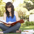 图库照片: Female Teenage Student Studying In Park