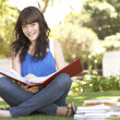 Female Teenage Student Studying In Park — Foto Stock