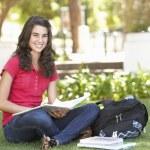 kobieta nastoletnią student studiuje w parku — Zdjęcie stockowe