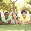 Group Of Teenagers Lying On Stomachs In Park — Stock Photo #4838923