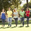Group Of Teenagers Running Through Park — Stock Photo #4838937