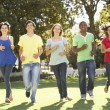 Group Of Teenagers Running Through Park — Stock Photo #4838940
