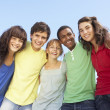 Foto Stock: Group Of Teenage Friends Standing Outside