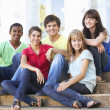Group Of Teenage Friends Sitting On College Steps Outside — Stock Photo #4838949