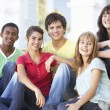 Group Of Teenage Friends Sitting On College Steps Outside — Stock Photo #4838950