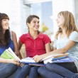 Group Of Teenage Female Friends Sitting On College Steps Outside — Stock Photo #4838955