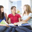 Group Of Teenage Female Friends Sitting On College Steps Outside — Stock Photo