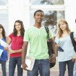 Group Of Teenage Students Standing Outside College Building — Foto de Stock
