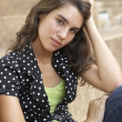 Unhappy Female Teenage Student Sitting Outside On College Steps — Stock Photo