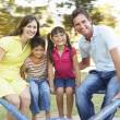 Family Riding On Roundabout In Park - Foto Stock
