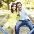 Young Couple Riding On Roundabout In Park — Stock Photo