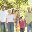 Extended Group Portrait Of Family Enjoying Walk In Park — Stock Photo #4839134