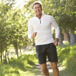 Stock Photo: Middle Aged Man Jogging In Park