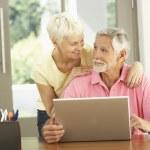 Senior Couple Using Laptop At Home — Stock Photo
