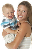 Studio Portrait Of Mother Holding Son — Stockfoto