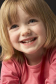 Close Up Studio Portrait Of Smiling Young Girl — Stok fotoğraf
