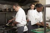 Team Of Chefs Preparing Food In Restaurant Kitchen — Stock Photo