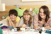 Group Of Teenage Girls In Untidy Bedroom — Stock Photo