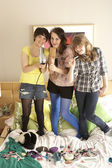 Group Of Teenage Girls Hanging Out In Untidy Bedroom — Stock Photo