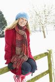 Woman Standing Outside In Snowy Landscape — Stock Photo