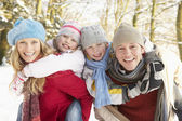 Familjen ha roligt snöiga skogsmark — Stockfoto