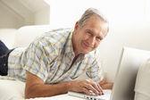 Senior Man Using Laptop — Stock Photo