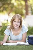 Studentessa adolescente studiando nel parco — Foto Stock