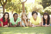 Group Of Teenagers Lying On Stomachs In Park — Stock Photo