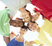 Group Of Teenagers Looking Down Into Camera — Stock Photo
