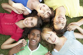 Group Of Teenagers Looking Up Into Camera — Stock Photo