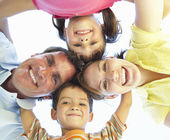 Family Group Looking Down Into Camera — Stock Photo