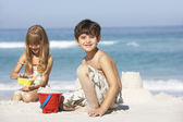 Brother and sister at beach — Fotografia Stock