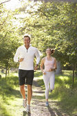 Middle Aged Couple Jogging In Park — Stock Photo