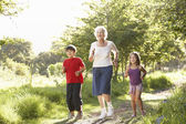Grandmother Jogging In Park With Grandchildren — Stock Photo