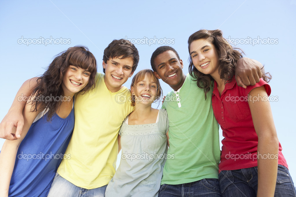 Group Of Teenage Friends Standing Outside — Foto de Stock   #4838944