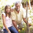 Teenage Granddaughter And Grandfather Relaxing In Garden — Stock Photo