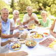 Extended Family Enjoying Meal In Garden — Stock Photo #4840224