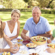 Family Enjoying Meal In Garden — Stock Photo