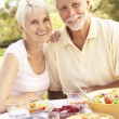 Senior Couple Enjoying Meal In Garden — Stock Photo