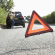Mother And Daughter Broken Down On Country Road With Hazard Warn — Foto de Stock