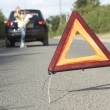 Mother And Daughter Broken Down On Country Road With Hazard Warn — Stock Photo #4840257